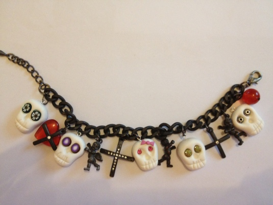 SCULL BRACELET, CREATED USING CERNIT POLYMER CLAY
